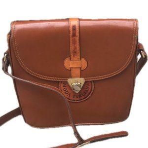 Vintage Cognac Leather Messenger Bag Moda Italian